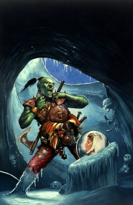 Af en eller anden grund kom forsiden til Isheksens huler (Sværd & trolddom) mig i hu, da jeg skulle udtænke kortet og rammen for scenariet.