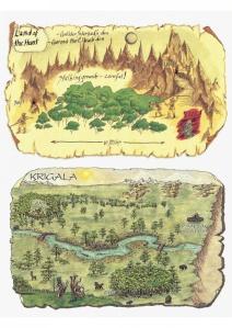 To bilag til spillerne. Det øverste er kortet, som gruppen fandt i Carceri.