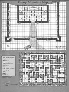 Kortet over Mistamere fra Dungeon Masters hefte i Den røde æske. Første niveau er kortlagt, andet skal man selv befolke. Det var et af de første hulesystemer, jeg udforskede.