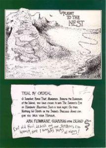 Kortet over bjergsiden, som heltene ser, da flyves hertil - samt det dokument, de finder i reden.
