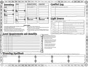 Torchbearer Character Sheet sde 2 - udstyr er oppe i venstre hjørne.