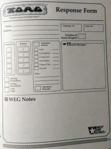 Skemaet til indrapportering af spillet, som påvirker den fælles meta-kampagne.