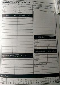 Karakterarket til TORG med en tabel i bunden af arket - ligesom Alternity og Earthdawn.