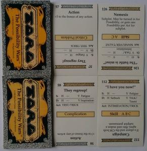 Fire eksempler på kort fra TORG - nogle af dem med plot-effekter, der ændrer spillets gang.