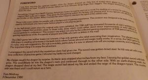 Forordet fra regelbogen indeholder et tidligt blik tilbage på hobbyen, som var knap syv år på dette tidspunkt.