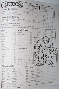 ElfQuest er rollespillet med flest karakterark, fordi man skal kunne vælge forskellige racer, køn og positurer for ens karaktertegning - her var blot tre eksempler.
