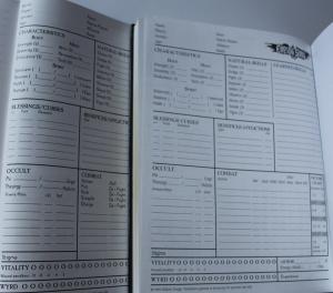 Character Sheets fra første og anden udgaven. Den væsentlige forskel er skiftet Spirit Traits (sammenlign også med In Nomine arket fra 1. dec.)